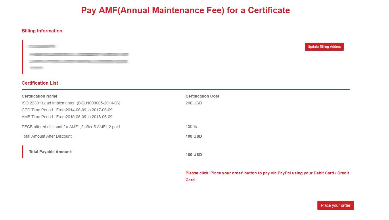 Annual Maintenance Fees Amf Pecb Help Center