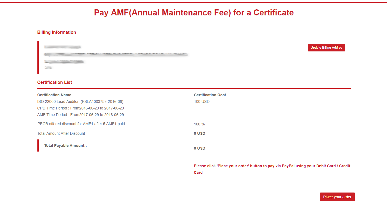 Annual Maintenance Fees (AMF) – PECB Help Center