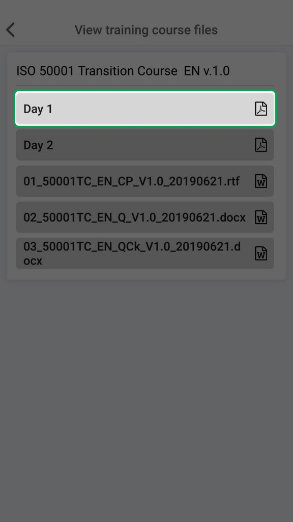 View course files KATE IOS