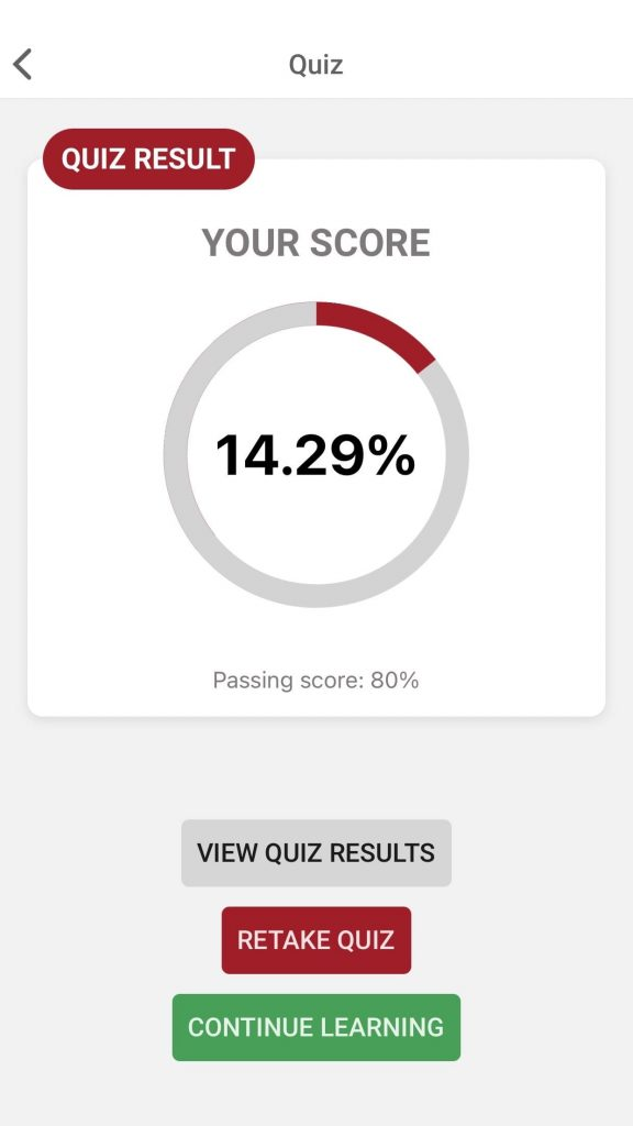 KATE IOS Quiz results